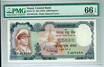 Nepal 1972 1000 Rupees P-21 Pmg Ms-66 Gem Uncirculated Epq