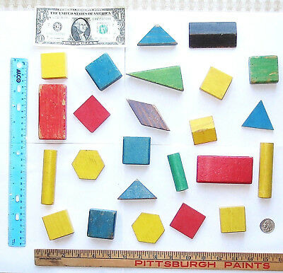 Vtg WOODEN Small BUILDING BLOCK LOT ~1/ONE POUND(lb) Old Wood Square/Mixed Shape