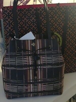 2ea1b1891b8 Authentic Tory Burch Kerrington Drawstring Tote Philly Plaid 474 NWT
