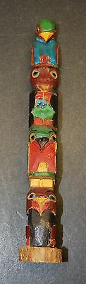 "Vintage NW Coast wood carved Totem, Bear, Owl, Bird effigy's 6-1/2"" tall"