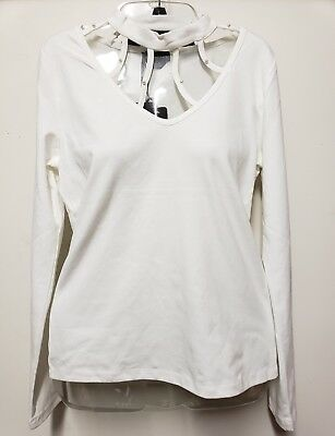 bebe Long-Sleeve High-neck Top Cut-out Studded Shirt Off-White Size S M L XL R3