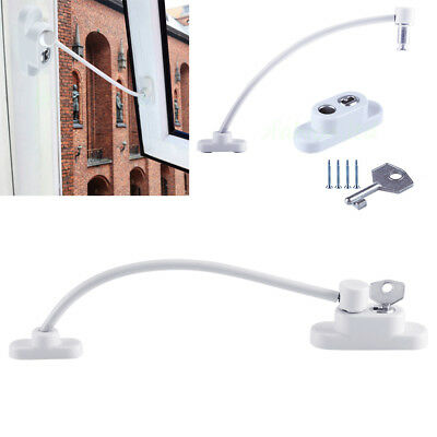 2x White Window Door Cable Restrictor Ventilator Child Baby Safety Security Lock