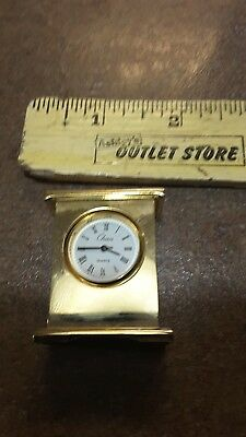 """Chass Gold Color Mini Mantle Clock, Working, 1.5"""" Tall"""