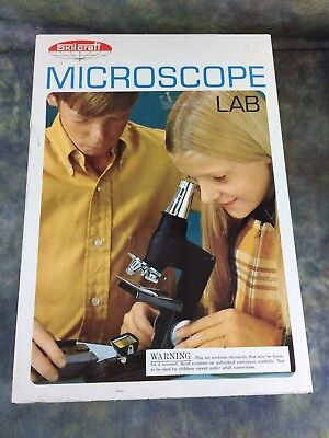 Vintage Skil Craft Microscope Lab 1969 with Manual/Metal Case Mostly Complete