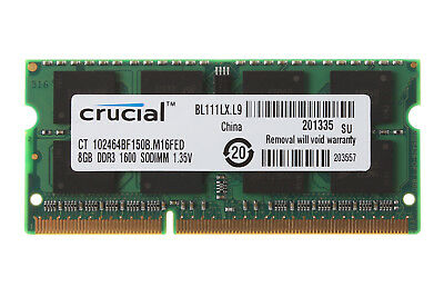 Crucial 8GB 2Rx8 PC3L-12800S DDR3L 1600Mhz SODIMM RAM Laptop Memory Intel Tested