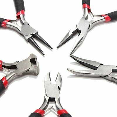 5pcs Tool Kit Round Needle, Long Nose & Bent Nose Pliers, Side & End Cutters