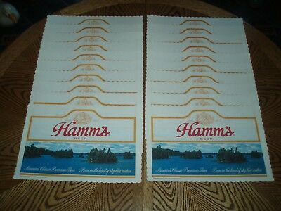 LOT OF (20) 1970s HAMM'S BEER - Unused Paper Place Mats Restaurant Bar Place Mat