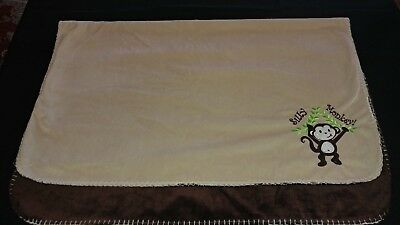 Silly Monkey baby blanket lovey brown beige SL Baby Collection reversable soft