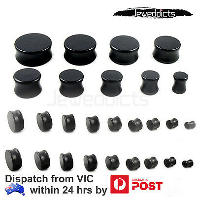 Wood Double Flared Ear Plug Round Black Solid Tunnel Body Piercing 8-28mm