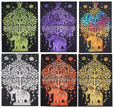 Lot of 5PC Indian Elephant Under Tree Wall hanging Poster Home Decor Bohemian