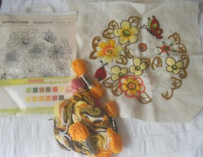 Vintage Semco Crewel Embroidery Kit Springtime Cushion Almost Completed