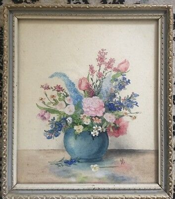 Small Painting Of Flowers In A Vase Still Life Framed Watercolour