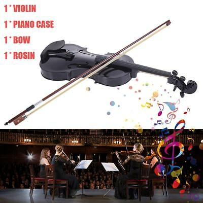 Student Acoustic Violin 4/4 Full Size Maple Black With Case + Bow For Beginner