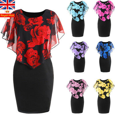 UK sPlus Size Women Floral Mini Dress Ladies Bodycon Evening Party Holiday Dress
