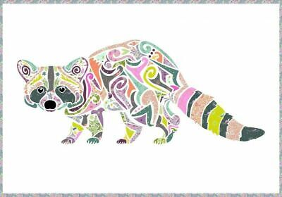Reginald Raccoon Laser Cut Applique Piece Design
