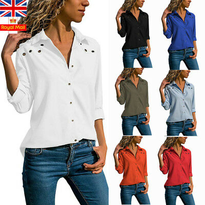UK Women V Neck Chiffon Shirt Long Sleeve Casual Button Ladies Work Blouse Tops