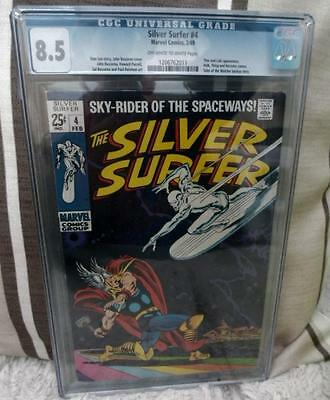 Marvel Comics CGC 8.5 SILVER SURFER  #4 BATTLES THOR CLASSIC Fantastic four High