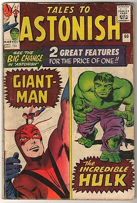Marvel TALES TO ASTONISH 60 HULK ANT-MAN Pym GIANT MAN AVENGERS VG+