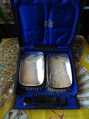 Antique Solid Silver Boxed Grooming Set of two Brushes Birmingham 1939