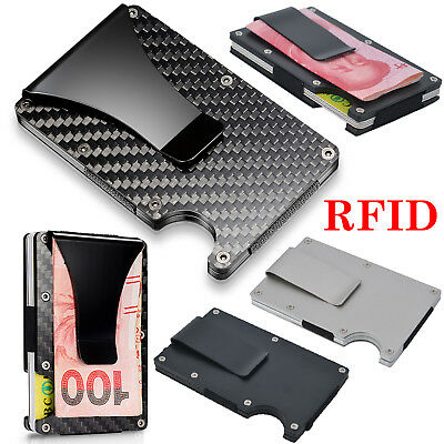 Mens Carbon Metal Credit Card Holders RFID Blocking Slim Wallet Money Clip Purse