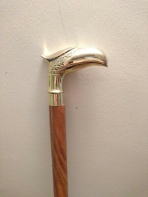 Classic Style Wooden Cane Walking Stick Eagle Handle Brown Wood Colour FAST UK
