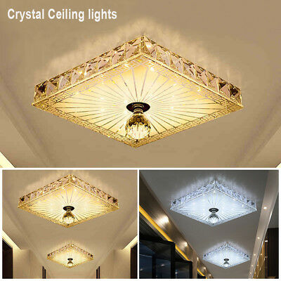 Square LED Crystal Ceiling Down Light Panel Wall Kitchen Bathroom Lamp 12W New