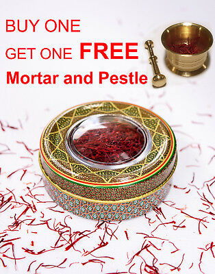 Buy 5 Grams Pure Finest Saffron Threads PLUS ONE FREE Mortar and Pestle Brass