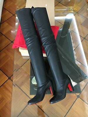 6f11e540807b NEW CHRISTIAN LOUBOUTIN Kiss Me Gena 85 Nappa Black Leather Boots Stretch  EU38