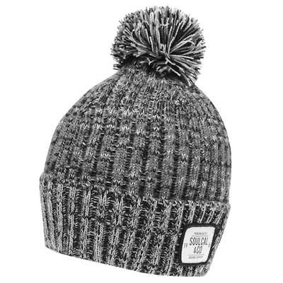 fe19ca697d1 Mens Soulcal Black Woolly Jarilo Knit Knitted Ski Skiing Bobble Beanie