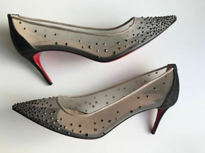 2ee18f9dab45 NEW CHRISTIAN LOUBOUTIN Follies Strass 70 Black Glitter Mesh Heels Shoe  EUR40