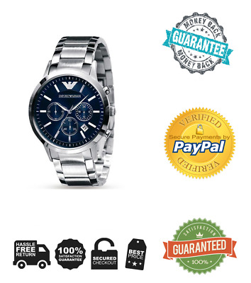 EMPORIO ARMANI AR2448 Mens Stainless Steel Blue Chronograph Watch
