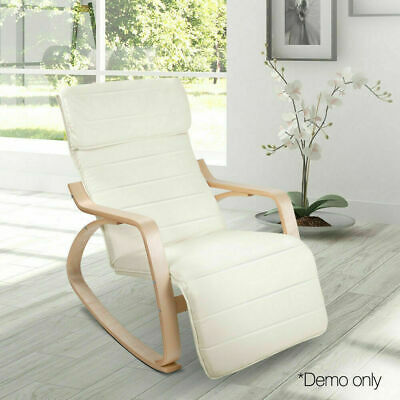 Fabric Rocking Bentwood Arm Chair with Adjustable Footrest Beige 100x67x90cm