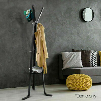 Wooden Coat Hanger Stand Birch Plywood Wood w 3 Branches 3 Legs Black