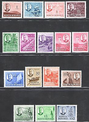 1950 NORTH BORNEO - SG 356/370 16 valores MNH Centrado en el and muy fresh