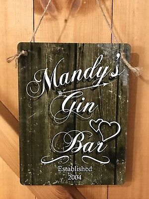 Personalised Gin Bar Sign Metal Any Name And Date Ready To Hang Great Gift