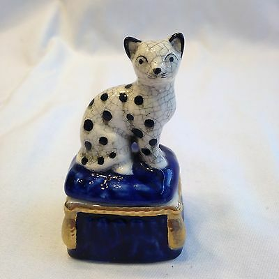 Vintage Fitz & Floyd Cat Trinket Box 1981 Spotted Kitty & Blue Pillow