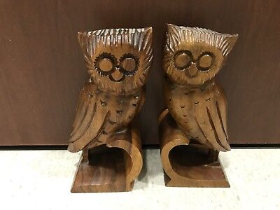 Pair of Bookends Owl Vintage Carved Wood Handmade Library Accessory 10x 6 Inch