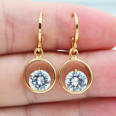 18K Yellow Gold Filled Hollow Circle White Round Topaz Zircon Gem Women Earrings