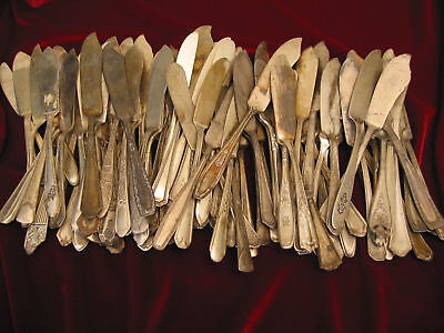 Silverplate MASTER BUTTER SPREADERS Lot of 90 BADLY WORN Vintage Flatware