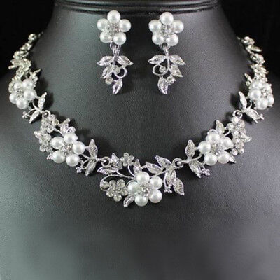 EP_ Ladies Bridal Floral Faux Pearl Silver Plated Necklace Earrings Jewelry Set