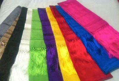 Mexican Rebozo Handtied Tassels Many Colors light weight Silk Shawl Wrap Mexico