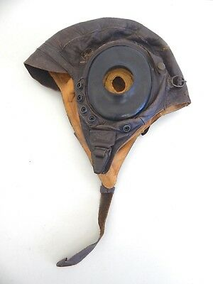 Vintage WWII U.S. Army Air Corps Leather Flight Helmet A-11
