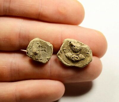 Ancient Byzantine Period Lead Seal - Lot Of 2