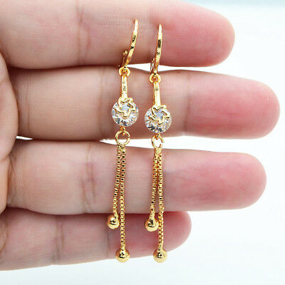18K Yellow Gold Filled Hollow Star Round Topaz Zircon Women Tassel Drop Earrings