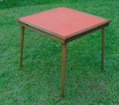 VINTAGE STAKMORE ORANGE Vinyl Folding Card Table Mid Century Modern - Mid century modern card table