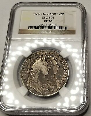 1689 Great Britain 1/2 Crown World Silver Coin NGC VF20 - William & Mary ESC-505