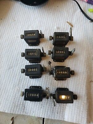 Lot of 8 Vintage Veeder Root Inc Manual Counter - 5 Digit counter