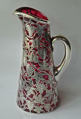 Antique Alvin Sterling Silver Overlay Claret Jug Red Glass Art Nouveau Decanter