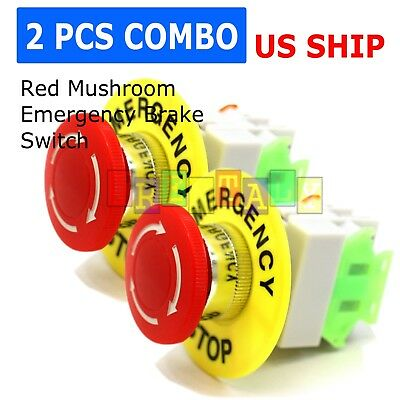 2 Pcs x Red Mushroom Emergency Stop Push Button Switch NO + NC 22mm CNC Gecko