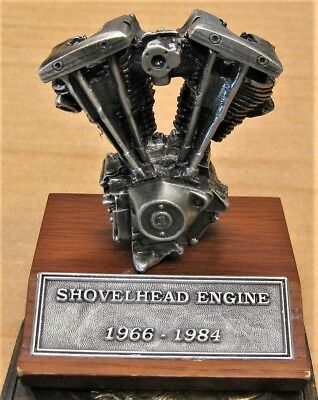 HARLEY DAVIDSON SHOVELHEAD ENGINE Paperweight DESK MODEL 1966-1984 WOOD &  METAL